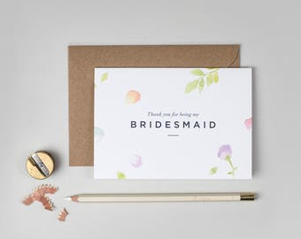 Thank you Bridesmaid Card/Amelia Bridesmaid Card/Thank you for being my Bridesmaid Card/Floral Bridesmaid Card/Watercolour Bridesmaid Card
