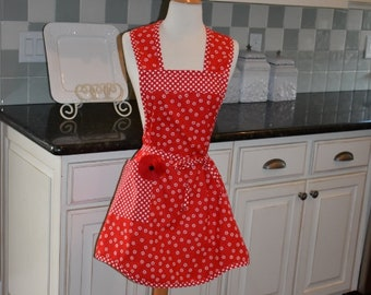 Kiss the Cook in Red -  Annie Style ~  Women's Retro Apron ~ 4RetroSisters