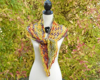 Autumnal multicolor crochet scarf shawl