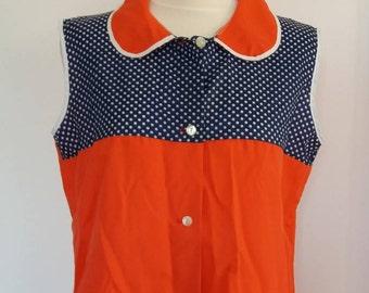 Vintage 1980s  Red  & Blue Polyamide Shirt, Nylon Shirt, Button Down Blouse