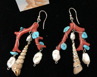 Coral branches earrings with turquoise silver pearl shells. Cleopatrartstones