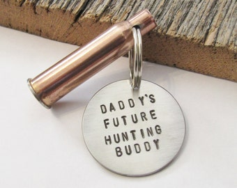 Dad Gift Valentine Gift for Dad Hunter Daddy's Future Hunting Buddy New Dad Keychain Personalized Boyfriend Gift Bullet Gift Daddy and Son