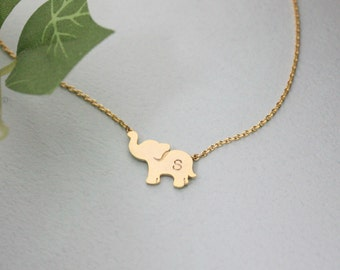 ELEPHANT NECKLACE, Personalized initial elephant necklace, initial jewelry, Elephant Jewelry,sterling silver necklace, silver elephant