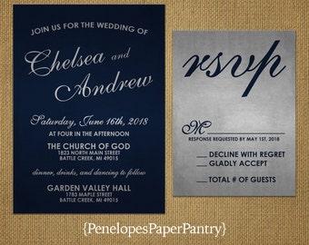 Elegant Navy Blue Wedding Invitation,Navy,Silver,Cursive Names,Shimmery,Traditional,Personalize,Printed Invitations,Invitation Sets,Envelope