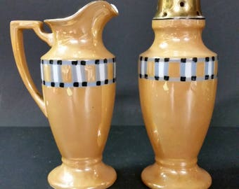 Vintage Noritake Sugar shaker and syrup pitcher. Hand painted