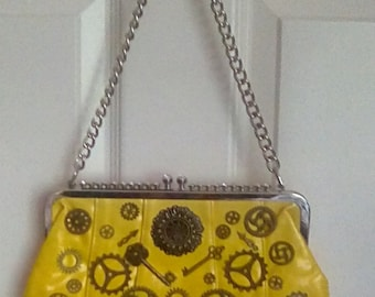 Up cycled yellow clutch bag with large chain strap