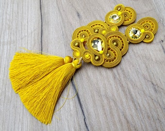 Yellow Gold Tassel Earrings, Long Clip on Earrings with Crystals, Soutache Earrings, Sparkling Tassel Earrings