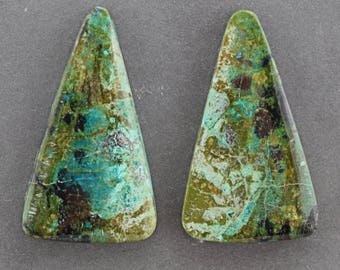 Parrot Wing Chrysocolla Cabochon Pair