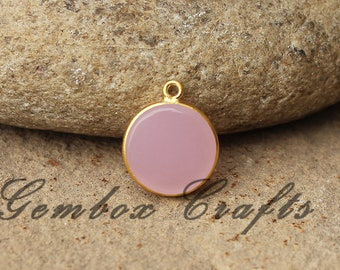 Rose Hydro Quartz 14mm Round Both Side Flat Smooth 925 Sterling Silver Gold Plated Bezel Pendant