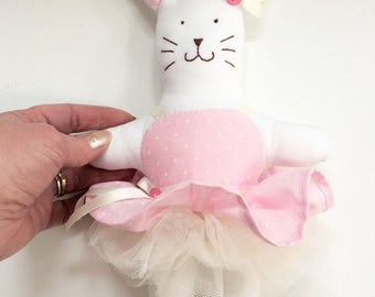 Ballerina Bunny, Ballet Gift, Ballerina Rabbit Art Doll, Girls Bedroom Decor, Collectable Bunny, Ballet Dancer Present