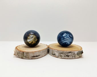 Set of 2 Starry Night 1 Inch Hider Marbles, Glass Marble, Marbles, Hider Marbles, Glass Art Marble, Glass Ball, Vortex Marble, Starry Night