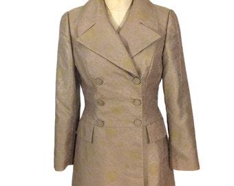 vintage 1990s BCBG floral coat / blush gold chartreuse / double breasted / women's vintage coat / size medium