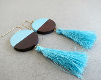 boho tassel earrings, bohemian earrings, wood earrings, round wood earrings, tassel statement earrings, tassel earrings,
