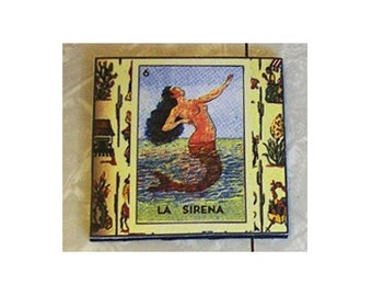 Loteria coasters retro Spanish Mexico pop culture folk art kitsch devil moon mermaid