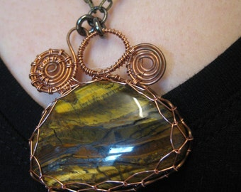 Steampunk Wirewrapped Tiger iron pendant on chain necklace