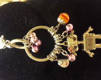 B-1B...  Adorable ham little girl robot keychain purse bag charm decoration with heart clip