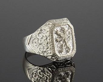 Man ring, Statement ring man, Lion ring, Silver ring man, Victorian ring, Silver victorian ring, Man victorian ring, Art deco ring men