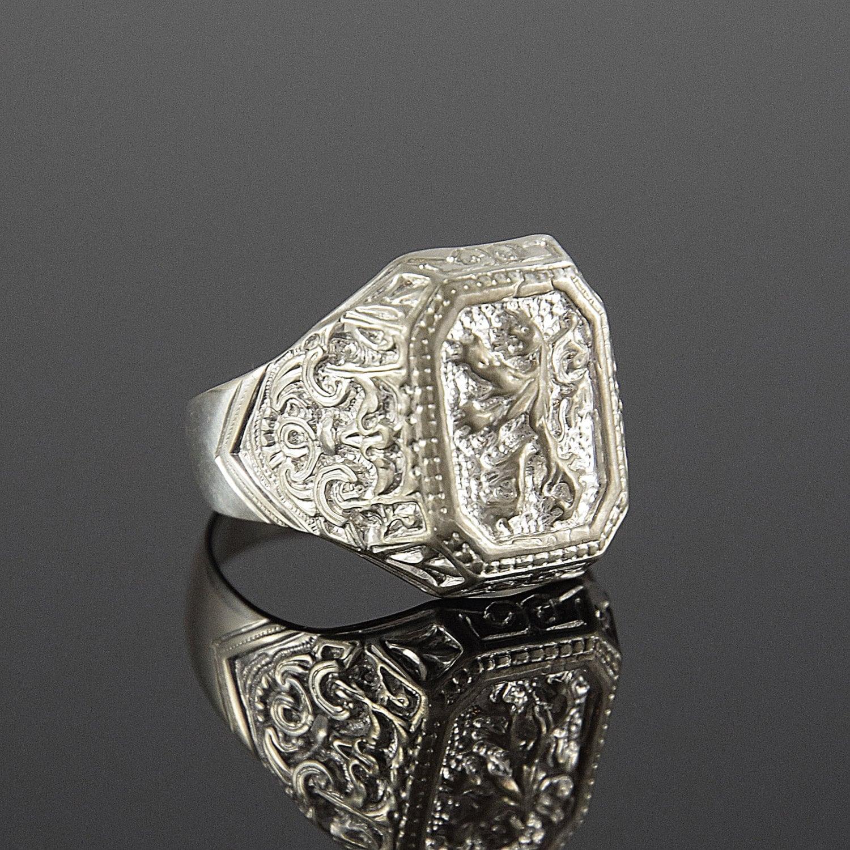 Man ring Statement ring man Lion ring Silver ring man