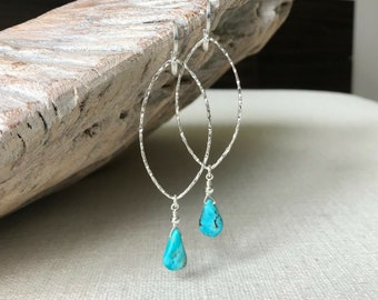 Turquoise Earrings, Turquoise Hoop Earrings, Turquoise Hoop Earrings Silver, Silver Turquoise Hoop, December Birthstone, Summer Fashion