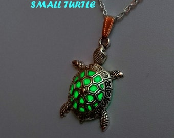 Small Green Glow Turtle Necklace - Tortoise Charm Pendant - Beach Jewelry - Turtle Necklace - Birthday Gift - Glowing Jewelry - Gift for Her