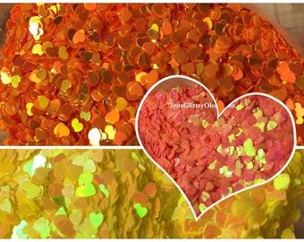 Nail Art Glitter / 3MM Holographic glitter/iridescent/ sequins/ nail art/ crafts/ heart shaped spangles glitter