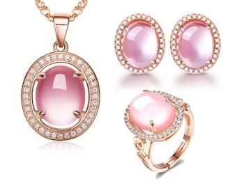 Pink Egg Shape Opal Jewerly Set