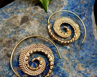 Tribal Brass Earrings. Spiral Hoop Earrings. Brass Tribal Earrings. Boho Earrings. Gypsy Hoop Earrings. Ethnic Earrings. Indian Jewelry.