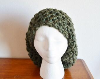 A Big Moss Green Beanie to Engulf Your Tiny Head - Women's Chunky Crochet Hat, Women's Fall Fashion, Oversized Chunky Crochet Hat
