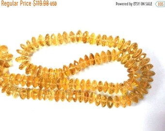 50% OFF 1 Strand AAA Quality Natural Citrine Micro Faceted Rondelle - Citrine German Cut Rondelle Beads 8-9MM - 16 Inches Long Strand