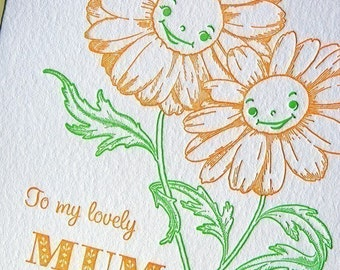 Mothers day Letterpress card for a lovely Mum Birthday