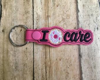 I Donut Care Key Chain, I Don't Care Key Fob, Pink