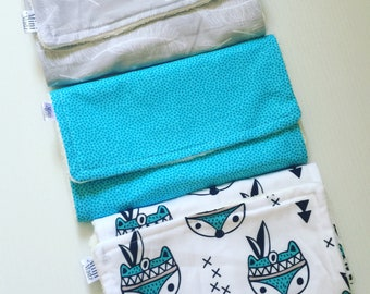 3 pack baby boy burp cloths - organic cotton backing - baby shower gift