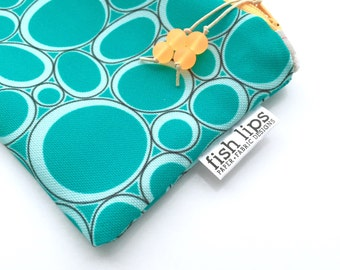 Teal Bubbles Recycled Canvas Zipper Pouch, Jewelry Storage Bag + Glass Bead Tassel, Handmade Gift, Sustainably Printed, Turquoise Blue Black