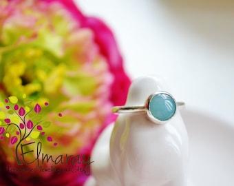 silver gemstone ring amazonite