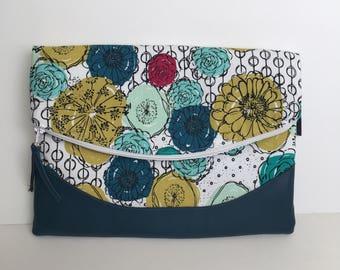 Heidi Foldover Clutch - Modern Floral zipper clutch, foldover clutch