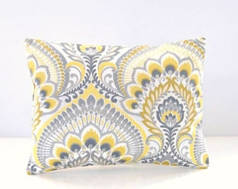 decorative pillow cover citrus lemon yellow, grey, mustard retro floral , 12 x 16 inch lumbar cushion cover