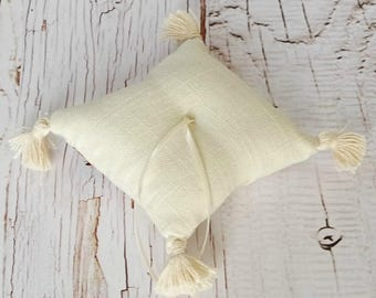 Linen and Tassels Ring Bearer Pillow, Baby size, Immediate Shipment