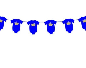 Prince Banner, Prince Garland, Crown Banner, Prince Baby Shower Banner, Royal Blue and Gold, Photo Prop (31717947A)