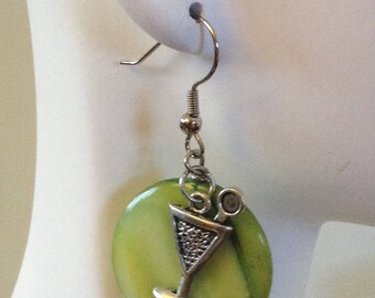 Olive On Top Dangle Earrings - Lime Green Mother of Pearl and Martini Charms