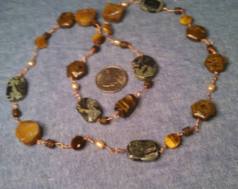 Stones and Copper with Pearls