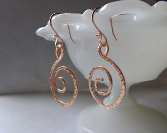 Rose Gold Swirl Earrings, Hand Hammered Rose Gold Spiral Earrings, Hand Forged, Under 30