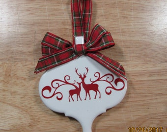 Tile Christmas Deer Ornament