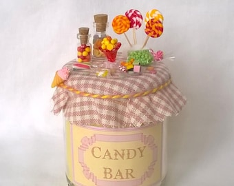 Candy bar, miniature candy yellow candle