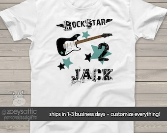 Birthday boy personalized guitar rockstar t-shirt MBD-048