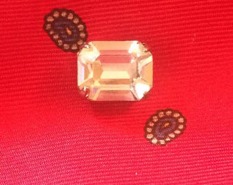 Vintage Emerald-Cut Clear Rhinestone, Silver Tone Tie Tack / Lapel Pin / Four Prong Set