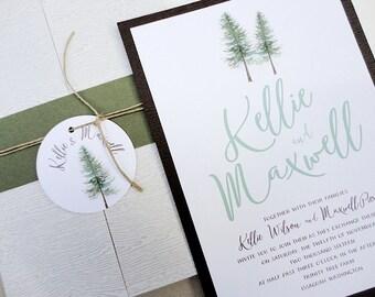 SAMPLE - Watercolor Woodland Pines Wedding Invitation Set