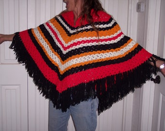 Vintage hand-crocheted poncho, adult, open size,red,black,white and orange,Striped,warm,thick yarn