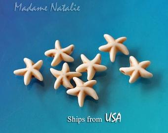 """White Turquoise Starfish Beads 14 x 14mm, Imitation Turquoise Beads, Cream Stone Starfish Beads, Starfish Beads Strand 16"""" (40pc)"""