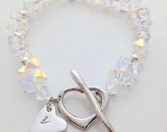 Bridal Belle Swarovski Heart Bracelet   Bridal Jewelry   Gift for Her   Crystal Bracelet   Romantic Gift   Jewellery