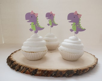 Dinosaur Girl T-Rex Cupcake Toppers - Set of 12